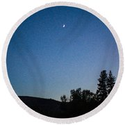 Moonlight Mirage Methow Valley Landscapes By Omashte Round Beach Towel