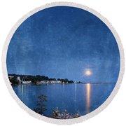 Moonlight On Mackinac Island Michigan Round Beach Towel