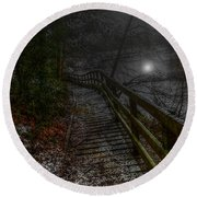 Moonlight On The River Bank Round Beach Towel