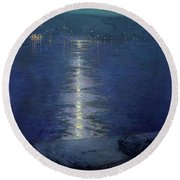 Moonlight On The River Round Beach Towel by Lowell Birge Harrison