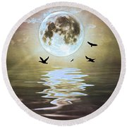 Moonlight On Water Round Beach Towel
