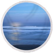 Moonlight Over The Pacific  Round Beach Towel