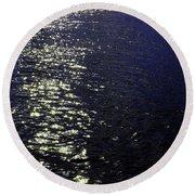 Moonlight Sparkles On The Sea Round Beach Towel