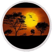 Moonlight, Supermoon Round Beach Towel