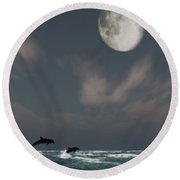 Moonlight Swim Round Beach Towel