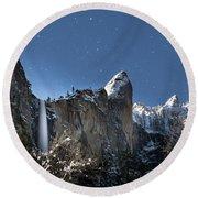 Moonlit Bridalveil  Falls-yosemite Valley Round Beach Towel
