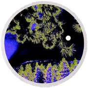 Moonlit High Country Round Beach Towel