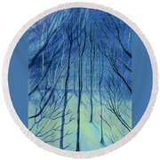 Moonlit In Blue Round Beach Towel
