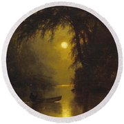 Moonlit Landscape Round Beach Towel