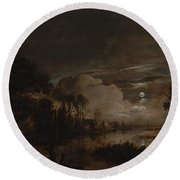 Moonlit Landscape With A View Round Beach Towel
