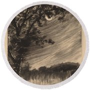 Moonlit Landscape With Tree At The Left Round Beach Towel