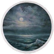 Moonlit Seascape Round Beach Towel by Katalin Luczay