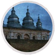 Moonlit Monastery Round Beach Towel