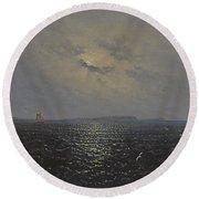 Moonlit Night By Ruegen Round Beach Towel