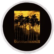 Moonlit Palm Trees In Yellow Round Beach Towel