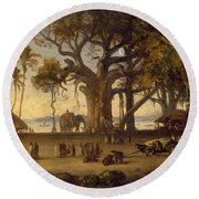Moonlit Scene Of Indian Figures And Elephants Among Banyan Trees Round Beach Towel