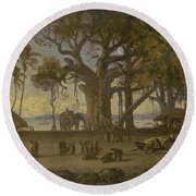 Moonlit Scene Of Indian Figures And Elephants Among Banyan Trees. Upper India Round Beach Towel