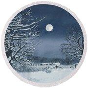 Moonlit Snowy Scene On The Farm Round Beach Towel