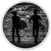 Moonlit Stroll Round Beach Towel