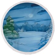 Moonlit Tranquility Round Beach Towel