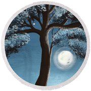 Moonlit Tree Round Beach Towel