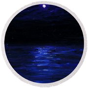 Moonlit Water Mini Oil Painting On Masonite Round Beach Towel