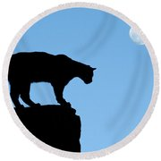Moonrise And Cougar Round Beach Towel