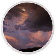 Moonrise And Sunset Round Beach Towel