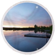 Moonrise At The Fishing Pond Round Beach Towel