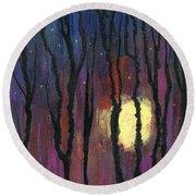 Moonrise In December Round Beach Towel