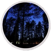 Moonrise In The Woods Round Beach Towel by Margaret Pitcher