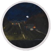 Moonrise On The Road Round Beach Towel