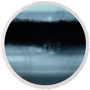 Moonrise On The Water Round Beach Towel