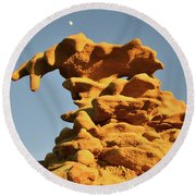 Moonrise Over Fantasy Canyon Hoodoo Round Beach Towel