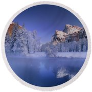 Moonrise Over Gates Of The Valley Yosemite National Park Round Beach Towel