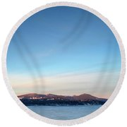 Moonrise Over Mtn Lakes Wilderness And Frozen Agency Lake, Oregon Round Beach Towel
