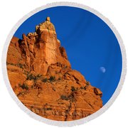 Moonrise Over Red Rock Round Beach Towel by Mike  Dawson
