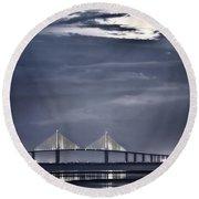 Moonrise Over Sunshine Skyway Bridge Round Beach Towel
