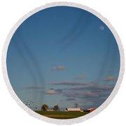Moonrise Over The Farm Round Beach Towel
