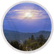 Moonrise Over The Top Of Mount Hood Round Beach Towel