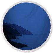 Moonrise Over Vernazza Round Beach Towel