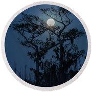 Moonrise Over Wetlands Round Beach Towel
