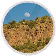 Moonrise Rio Grande Gorge Pilar New Mexico Round Beach Towel