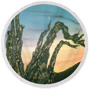 Moonset-bristlecone Pine Round Beach Towel