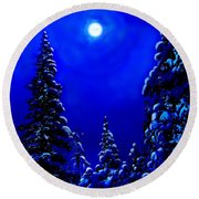 Moonshine On Snowy Pine Round Beach Towel