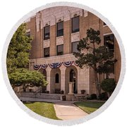 Moore County Courthouse Round Beach Towel