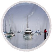 Moored Boats In Morro Bay Round Beach Towel