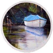Moored Rowing Boat Round Beach Towel