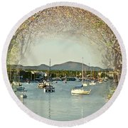 Moored Yachts In A Sheltered Bay Round Beach Towel