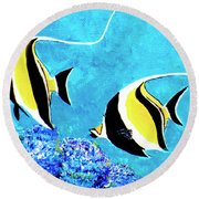 Moorish Idol Fish  #50 Round Beach Towel